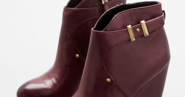 #Burgundy Wedge Booties / SamEdelman