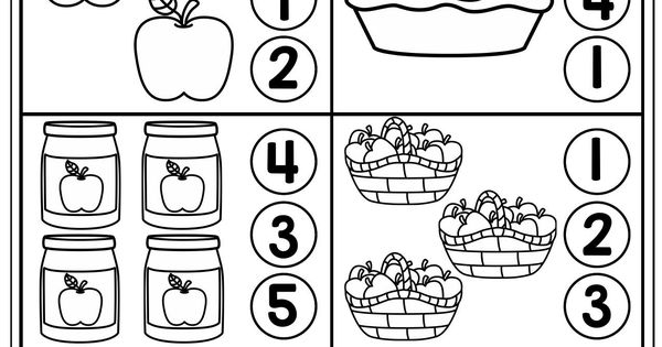 Counting 1-5. Count The Items In Each Group And Dot Or