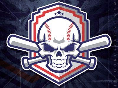 Skull Baseball With Bats Game Logo Design Sports Logo Inspiration Art Logo