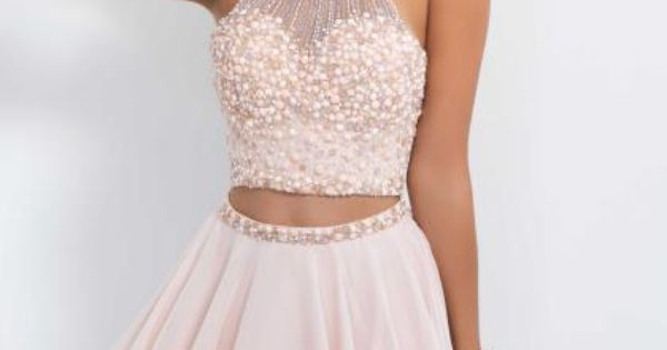 Blush Beaded Halter Top Dress 10070 Two Piece Dresses