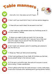 English Worksheet Table Manners Rules With Images Table