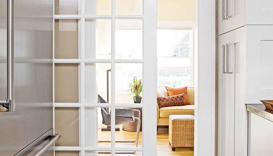I love sliding doors and especially this idea!!! sliding french door (barn