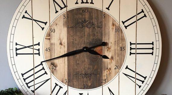 32 Inch Farmhouse Clock, Rustic Wall Clock, Large Wall