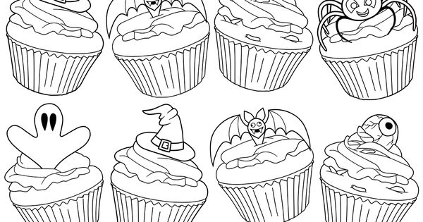 Free Adult Coloring Book Page #Halloween Cupcakes By Blue