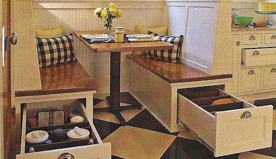 Another neat storage idea if we have a breakfast nook. Apparently I'm