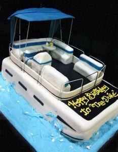 Sculpted Pontoon Cake Boat Cake Lake Cake Celebration Cakes