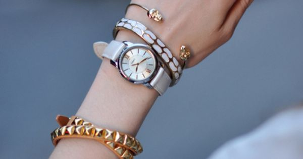 stacked bracelets with watch