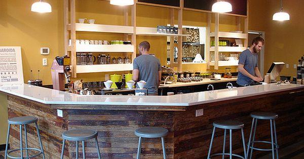 Reclaimed wood under bar at jubala village coffee in