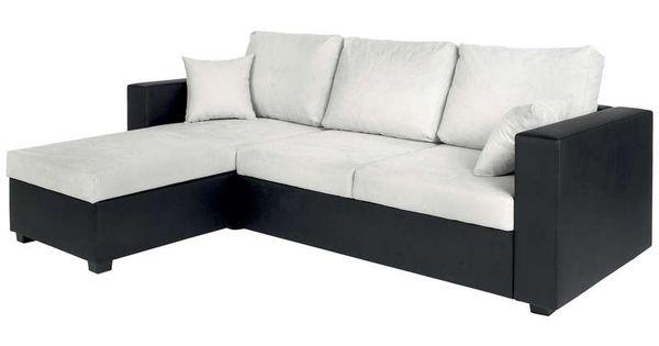canap d 39 angle convertible 5 places glenn coloris gris noir prix promo canap conforama. Black Bedroom Furniture Sets. Home Design Ideas