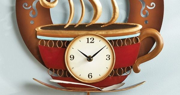 Coffee Cup Theme Kitchen Wall Clock Metal Home Decor