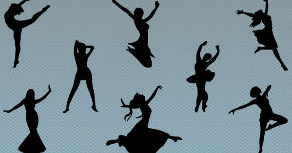 A Assorted Women Jumping And Dancing Silhouette Vector