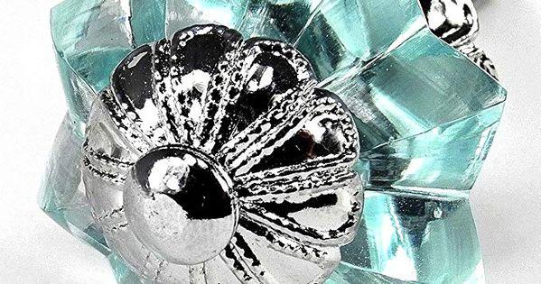 Glass Drawer Handles Cupboard Pulls or Antique Brass Cabinet Hardware #K117