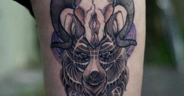 Skull Sacred Geometry Tattoo Design on Thigh tattoo tattoos ink inked