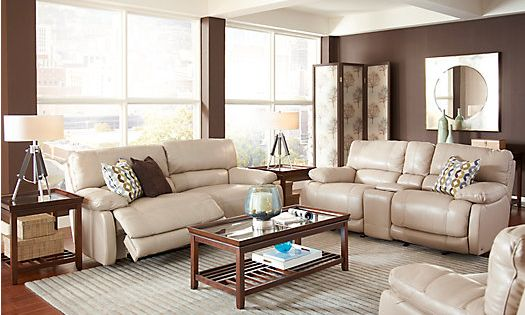 Shop for a cindy crawford auburn hills taupe 3pc reclining for Find living room furniture