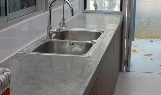 Polished concrete counter tops concrete for Polished concrete kitchen countertops