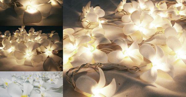 White Frangipani Flower String Lights For Wedding and House decoration (20 Flowers/Set) Say I ...