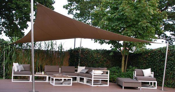 Het shadowart schaduwdoek is toepasbaar op elk terras het doek wordt op maakt gemaakt en is in - Terras zeil ...