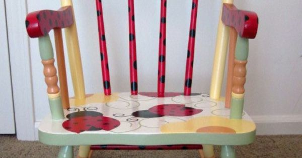 Ladybug Rocking Chair Flowers Garden By Frogsandfairytales On Etsy 180 00 Painted