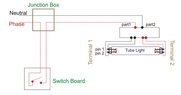 Wiring Diagram For A Single Tube Light Circuit Tube Light Circuit Diagram Fluorescent Tube
