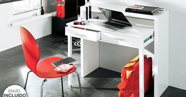 Mesa escritorio extensible en color blanco brillo ideal - Escritorios para habitaciones pequenas ...