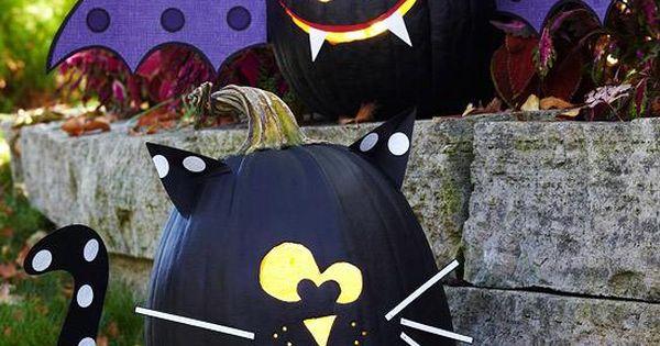 halloween k rbisse schwarz bemalen katze fledermaus papier kindergarten pinterest halloween. Black Bedroom Furniture Sets. Home Design Ideas