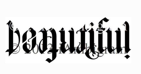 Beautiful imperfect ambigram tattoo idea for Two words in one tattoo generator
