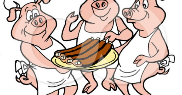 3 Cartoon Pig Chefs Around A Platter Of Fresh Ribs Vector Eps File Available This Image Also Has A Transparent Pig Cartoon Cartoon Clip Art Pig Illustration