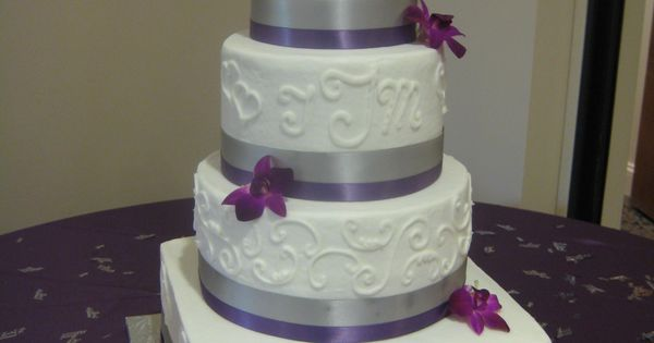square wedding cake with purple ribbon four tier square and wedding cake with purple and 20438