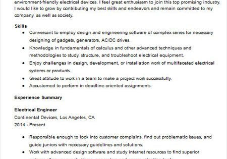 Electrical Engineer Resume Sample resume and job research - electricians sample resume