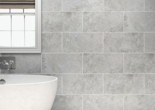 Wickes Kensington Grey Stone Effect Ceramic Wall Tile 600x300mm Wickes Co Uk Bathroom Wall Tile Tile Bathroom Wickes Bathroom Tiles