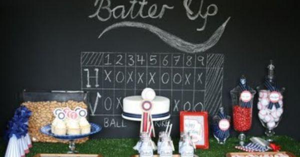 Baseball party dessert table