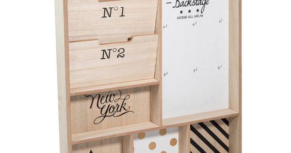 porte courrier mural en bois blackstage maisons du monde my little workspace pinterest. Black Bedroom Furniture Sets. Home Design Ideas
