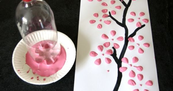 Cherry Blossom Art from a Recycled Pop Bottle... cute idea.