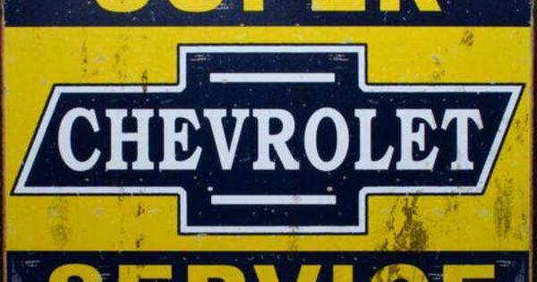 Super Chevy Service Tin Sign Carteles Vintage Carteles Antiguos