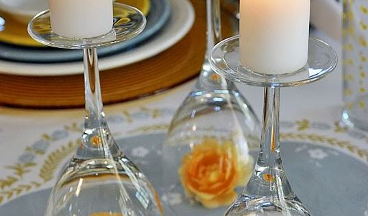 wine glass candle holders... Why didn't I think of this for my