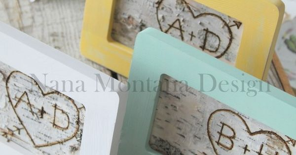 Your initials carved into birch bark and framed - cute wedding gift