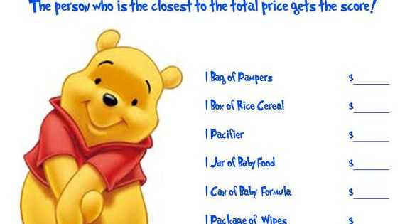 Winnie The Pooh Guess That Price Baby Shower by AllThingsParty, $3.00