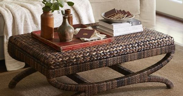 Seagrass Coffee Table Ottoman Pottery Barn Coastal Decorating Pinterest Coffee Table