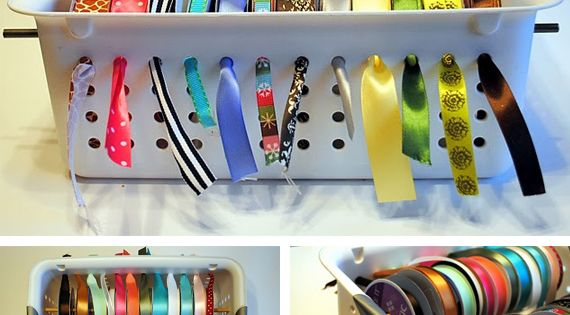 Ribbon organization great idea for my craft room!