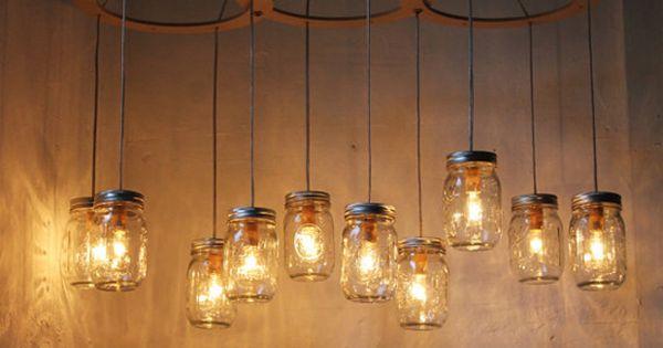 Mason jar 2 light fixture primitive industrial rustic - Barn style lighting for bathroom ...