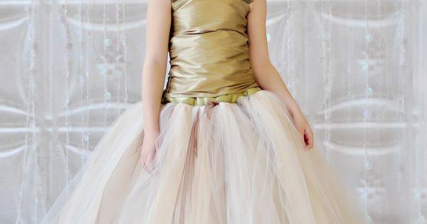Tutu Dress, Vintage Champagne, Ivory, Gold and Brown tutu Skirt 215 usd
