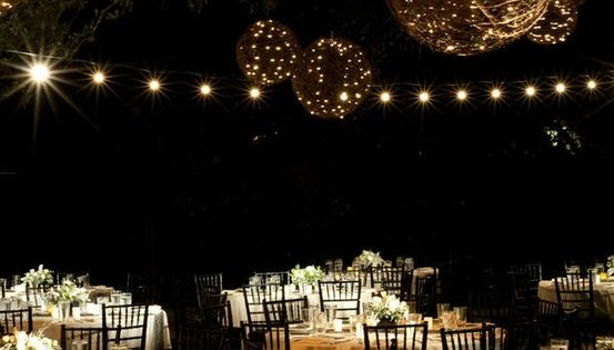 hanging vine balls with lights - so magical