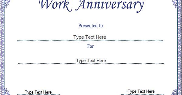Business Certificate - Work Anniversary Certificate Template