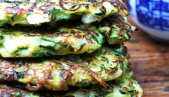 Zucchini Fritters with Tzatziki 2 cups coarsely grated zucchini 1/2 cup coarsely