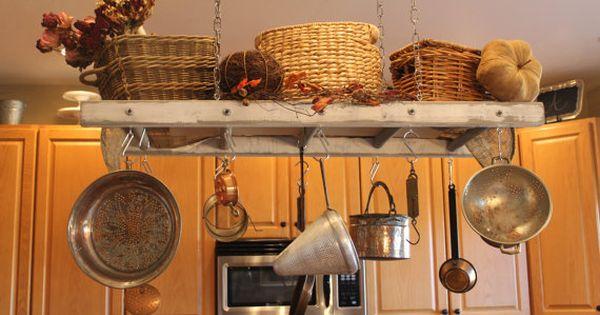 Rustic Ladder Pot Rack Repurposed Ladder by ...