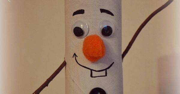 Diy no l bonhomme de neige olaf reine des neiges en - Bonhomme de neige avec rouleau papier toilette ...