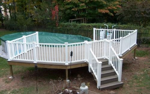 Building above ground pool deck above ground pool deck for Above ground pool composite decks