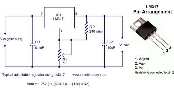 Lm317 Typical Adjustable Regulator Circuit  Not That