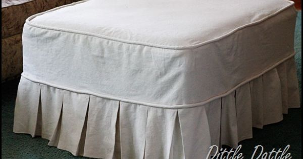 How to make an ottoman slip cover using a drop cloth wish for Where to put ottoman