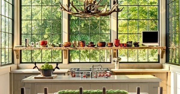 Kitchen windows, antler chandelier